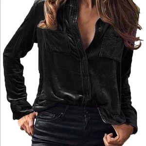 Black Velvet solid button up long sleeve